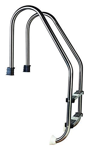 well2wellness® Hochwertige Edelstahl Einstiegsleiter V2A, 43mm Holm weit gebogen, 2 Stufen