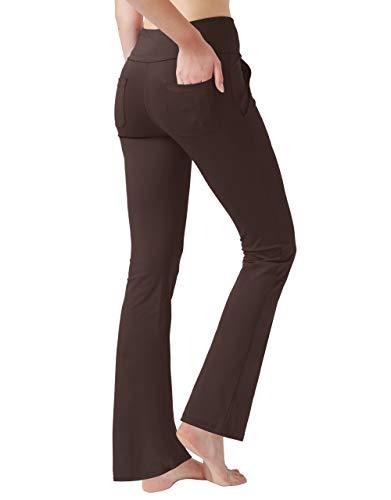 Haining Women's High Waisted Boot Cut Yoga Pants 4 Pockets Workout Pants Tummy Control Women Bootleg Work Pants Dress Pants (Brown,Small)