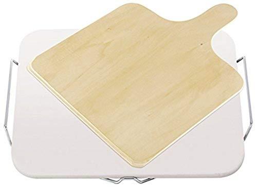 Leifheit Pizzastein für den Backofen, inklusive Holzschieber, ideal für Flammkuchen und Pizza, Pizzastein 35x30x1 cm für knusprige Böden, Backstein eckig