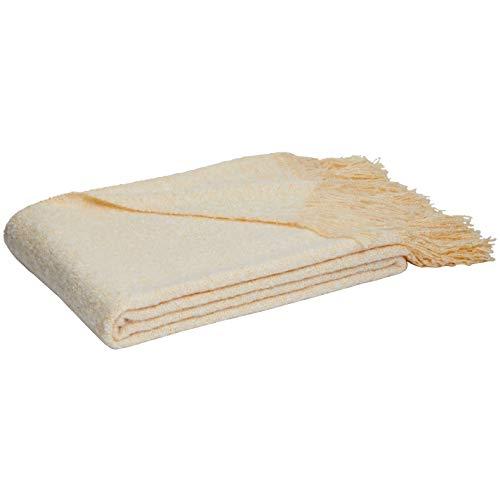 AmazonBasics - Manta con flecos de lana de Angora de imitación, Beige, 130 x 170 cm