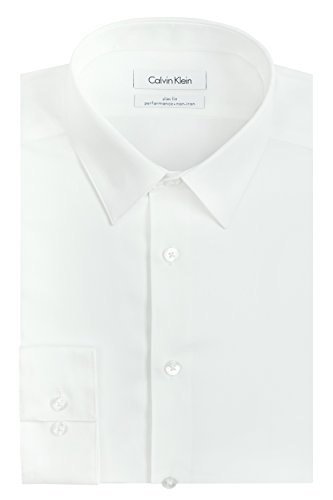 "Calvin Klein Men's Dress Shirt Slim Fit Non Iron Herringbone, White, 17.5"" Neck 36""-37"" Sleeve (X-Large)"