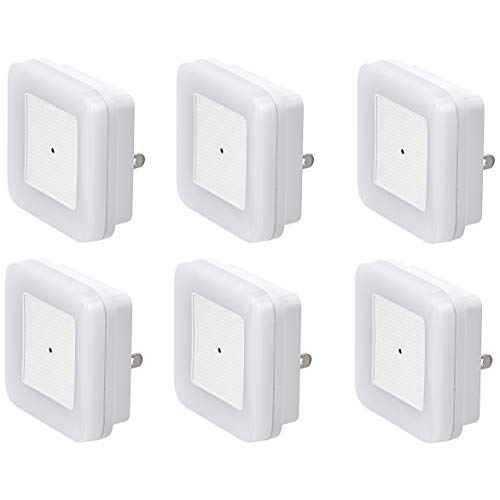 Amazon Basics LED Plugin Night Light with Dusk to Dawn Sensor 3/10 Lumen Dual Dimming for Bedroom Hallway Stairs  Square 6Pack