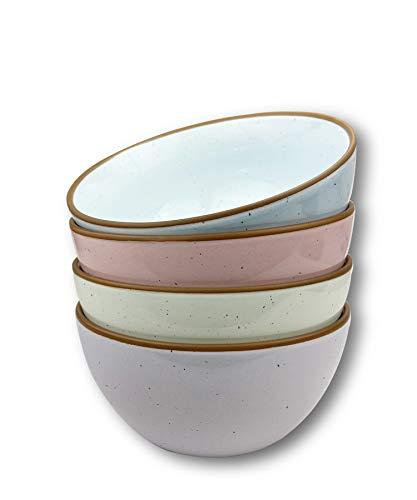 Mora Ceramic Bowls For Kitchen 28oz - Bowl Set of 4 - For Cereal Salad Pasta Soup Dessert Serving etc - Dishwasher Microwave and Oven Safe - For Breakfast Lunch and Dinner - Assorted Colors