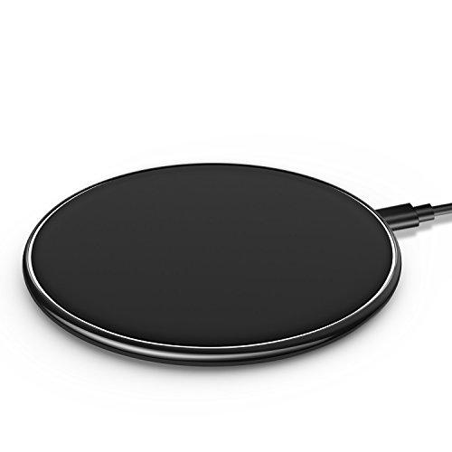 Wireless Charger Ultra Thin UGpine Qi Charging Pad Fast Charge for Samsung Galaxy S8,S8 Plus,Note 8,S7,S7 Edge,S6 Edge Plus,Standard Charge for iPhone X,8,8 Plus,Black (Black)