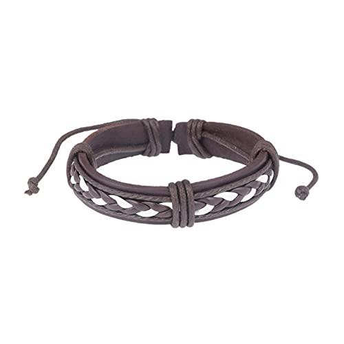 ADDYZ Pulsera de cuero positivo de moda de los hombres de acero inoxidable de múltiples capas de punto pulsera de cuerda de los hombres de la mano de