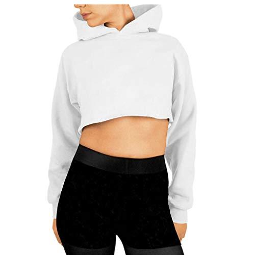 JURTEE Felpe Corte Tumblr Donna Autunno Casual Ragazza Sweatshirt Pullover Elegante Manica Lunga Crop Top Coprispalle Ragazza Felpe con Cappuccio Sportiva