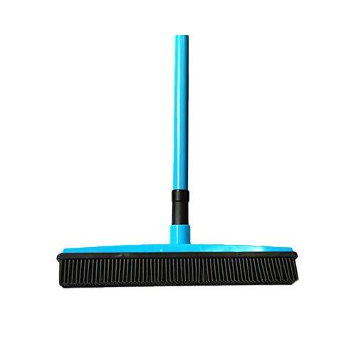 Ouumeis Empuje Escoba con Suave cerdas rasqueta limpiacristales de Goma Borde Uso para Mascota Gato Perro Pelo Limpieza de alfombras de Vinilo de Madera, Rubber Broom,Azul