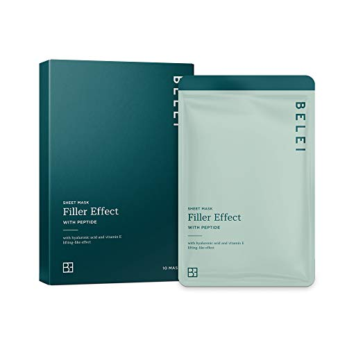Amazon Brand - Belei - Filler Effect Sheet Mask with Peptide, Pack of 10
