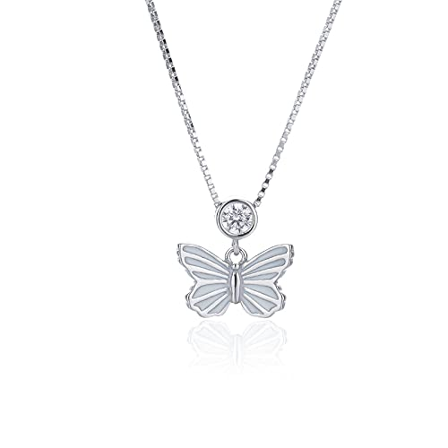 YNING Collar Femenino/Collar con Colgante de Mariposa/Plata de Ley S925 / Diseño Hueco con Incrustaciones de Diamantes/Longitud de Cadena Ajustable
