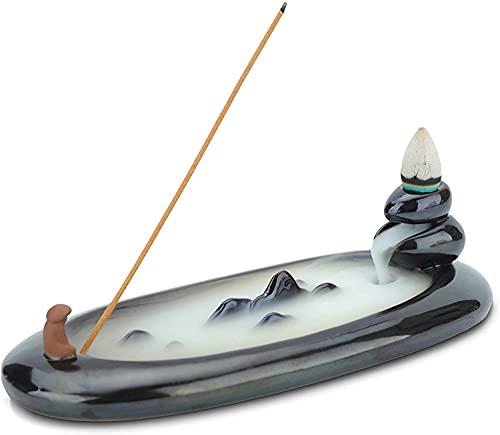 Tenedor decorativo de incienso de incienso Cerámica Negro de cerámica 18 cm, Reflujo manual Incienso Cono quemador de cono de palillo Dispositivo de succión de polvo, usado for meditación, yoga, relaj