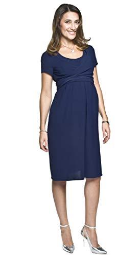 Torelle Maternity Wear 2in1 Elegantes und bequemes Umstandskleid mit Stillfunktion, Modell: Lavinia, dunkleblau, M