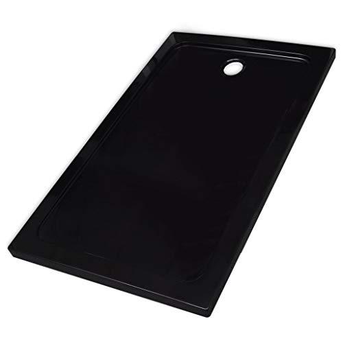 vidaXL Plato de Ducha Rectangular Antideslizante Negro 80x120cm Placa de Baño