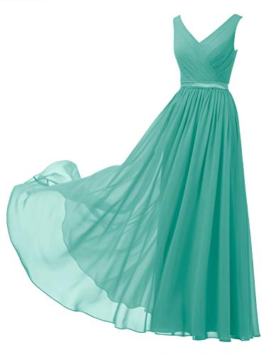 Alicepub V-Neck Chiffon Bridesmaid Dress Long Formal Gown Party Evening Dress Sleeveless, Tiffany, US14
