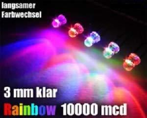 50 Stück LED 3mm Farbwechsel RGB Auto Regenbogen langsam