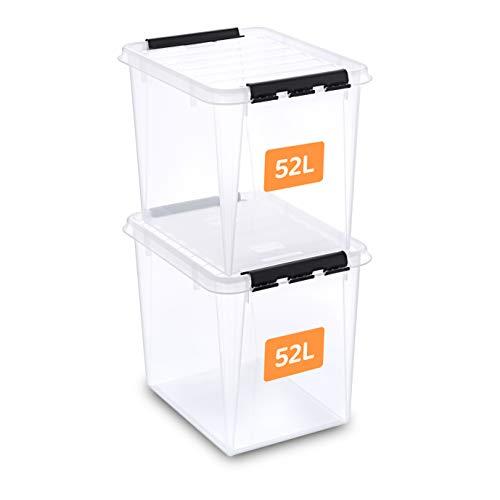 SmartStore aufbewahrungsbox mit deckel, 52 l, 2er-Pack, verstärkt, groß, transparent, für Lebensmittel geeignet, mit Clipverschluss, stapelbar, BPA-freies Plastik, 50 x 39 x 41 cm (L x B x H)