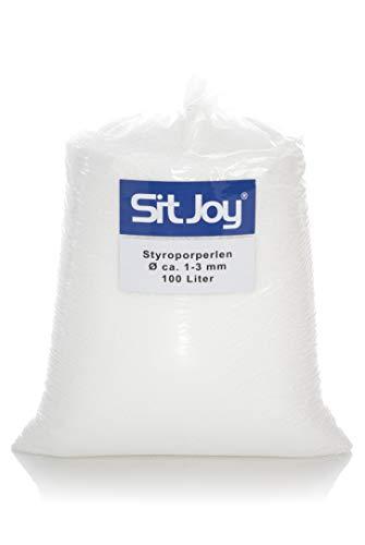 Sitjoy Sitzsack-Füllung | Styropor-Perlen [Ø ca. 1-3 mm] | 100 Liter | Nachfüllbeutel – EPS Styropor-Kugeln und Kügelchen für Kissen