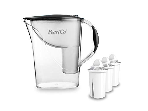 PearlCo - Wasserfilter Standard (anthrazit) mit 3 classic Filterkartuschen - passt zu Brita Classic