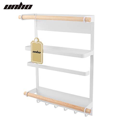 unho Hängeregal für Kühlschrank, Kühlschrank Regal Magnet mit 6 Hanken, Papierhandtuchhalter/Handtuchhalter, Gewürzregale, 28×34cm