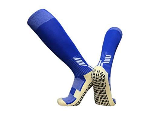 SHUX Calcetines Deportivos Calcetines de Baloncesto de fútbol Calcetines Bajos de Goma para Hombre Calcetines Cortos de Tubo Medio 2 Pares, Tubo de Color Azul