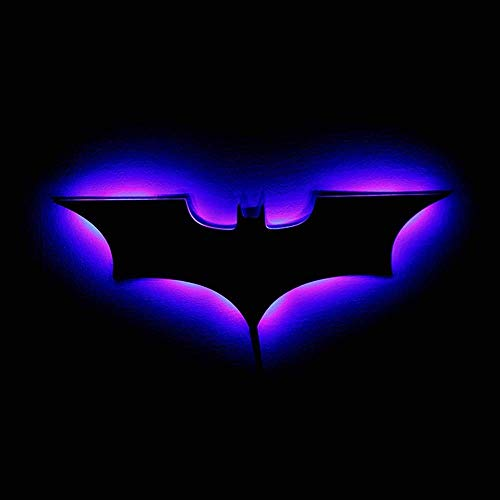 Applique murale d'intérieur LED avec télécommande USB Batman - Miroir RVB - Pour placard, couloir, salon, chambre à coucher - Grande veilleuse argentée