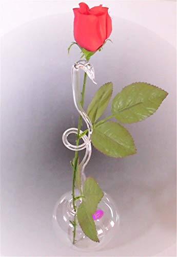Rosenvase aus Glas Lauscha filigran Handmade Klarglas Vase für Rosen Qualität
