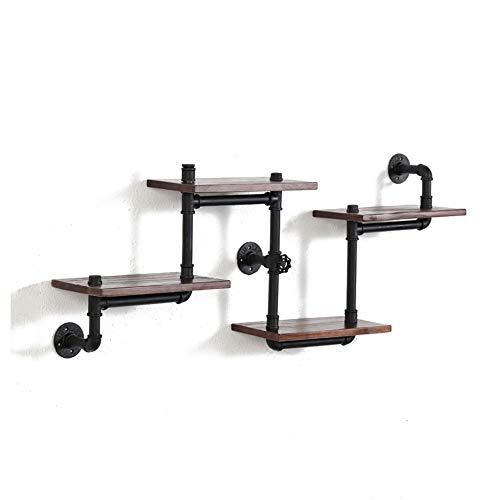 Industrial Style Wall Mount Shelf, wandkleden ijzeren pijp Art Planken Met Wood, 4-Tiers Rustic Bookshelf for de woonkamer 410 (Size : A)