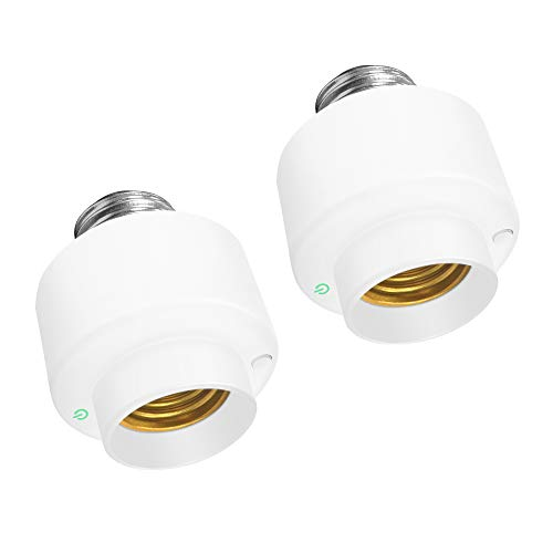 2PCS Smart WiFi Bulb Socket E26/E27 Light Bulb Adapter Wireless Intelligent Control Light Socket Compatible with APP Remote Control Timer Function, Only Support 2.4GHz Network, 40W Max