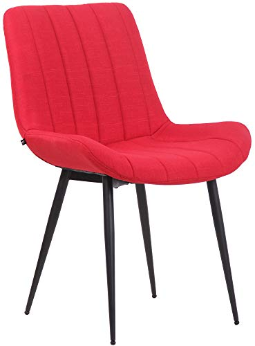 CLP Silla De Comedor Everett Tapizada En Tela Moderna & Ergonómica I Butaca De Salón con Base De 4 Patas En Metal Negro, Color:Rojo