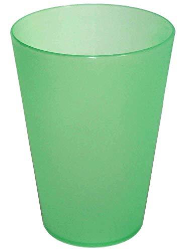 DS-Computerwelt 50 Plastik Trinkbecher max 0,4 l PVC-Becher Partybecher Polypropylen Ø 56-86 mm h=115 mm PP Mehrwegtrinkbecher stapelbar, spülmaschinenfest, bruchsicher, Farbe: grün