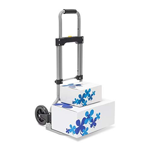 Relaxdays Sackkarre klappbar belastbar bis 60 kg HBT ca. 96 x 38 x 37 cm Transportkarre mit ausziehbarem Griff für Umzug, Einkäufe und schwere Kisten höhenverstellbar und platzsparend faltbar, grau