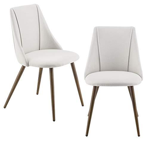 [en.casa] 2X Polsterstuhl Design Stühle Esszimmerstuhl 2er Set Textil Beige Bürostuhl mit Metallbeinen in Holzoptik 2 STK.