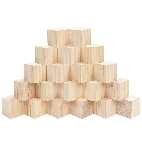 Belle Vous Cubos de Madera Cuadrados Grandes (Pack de 20) – 5 x 5 x 5 cm Cubos Madera Pino Natural Sin Acabado - Bloque Madera Educativo Manualidades, Sellos, Rompecabezas, Números