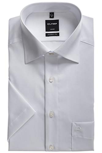 Olymp Luxor Herren Modern Fit Hemd, 0300/12/00, Halbarm, Weiß, 42