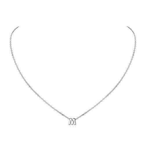 ChicSilver Collar Dije M Joyerías Hipoalergénicas de Plata de Ley 925 Oro Blanco Colgante Pequeño Alfabeto Letra Inicial Diseño Simple para Cuello