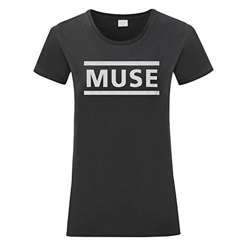 LaMAGLIERIA Camiseta Mujer Muse - Camiseta 100% Algodon, L,Negro