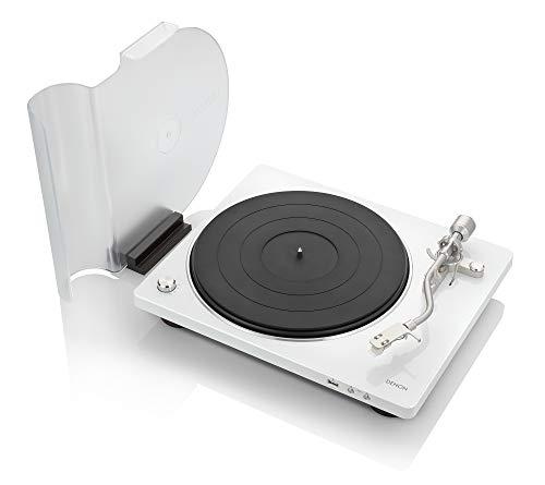 Denon DP-450USB (White) Semi-Automatic Analog Turntable | USB Output for Recording | Speed Auto Sensor | Specially Designed Curved Tonearm | 33 1/3, 45, 78 RPM (Vintage) Speeds -  DP450USBWT
