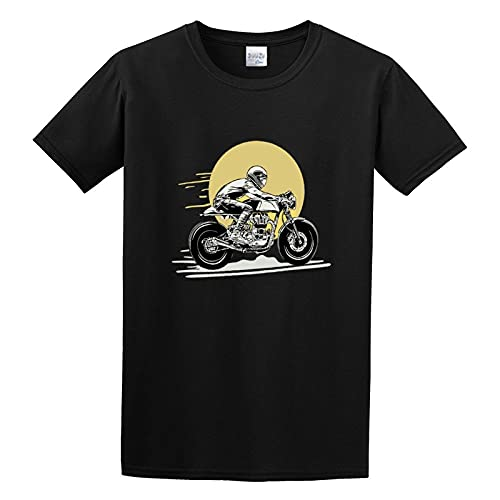 Motorcycle Print Enfield Cafe Racer Gt Continental Royal Cotton Round Neck Tee Shirt for Men M, Black