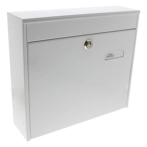 BURG-WÄCHTER Zaunbriefkasten, A4 Einwurf-Format, EU Norm EN 13724, Inkl. 2 Schlüsseln, Verzinkter Stahl, Potsdam 878 W, Weiß