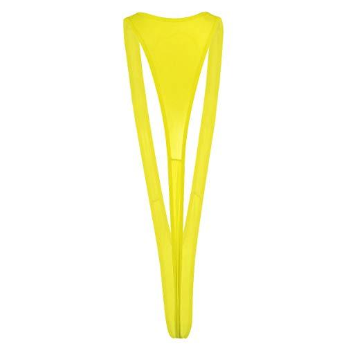 YiZYiF Damen Micro Mini Bikini Badeanzug Triangel Tanikini Monokini Tanga String Einteiler Thong Dessous Lingerie Bademode Reizwäsche Gelb One Size