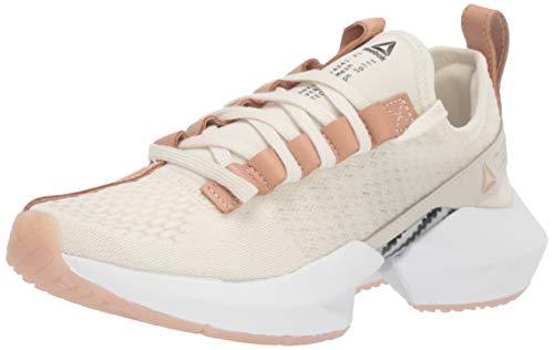 Reebok Women's Sole LUX Running Shoe, White/tan/Black, 6.5 M US