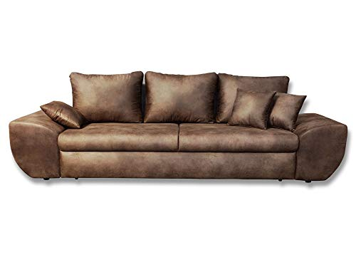 lifestyle4living Big Sofa in braun mit Schlaffunktion und Bettkasten, Vintage Look, Microfaser   XXL Couch inkl. 3 extragroßen Rücken-Kissen und hochwertiger Federung