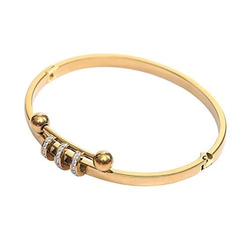 Pulsera abierta de acero al titanio con tachuelas en anillo, pulsera femenina de acero inoxidable, oro rosa