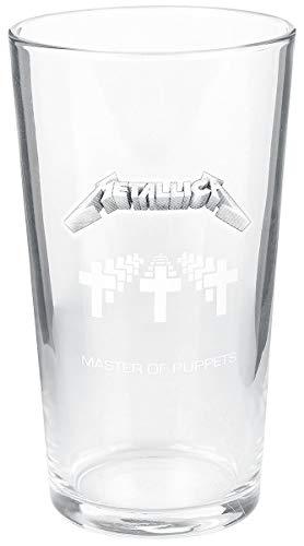 Metallica Master Of Puppets Unisex Vaso de cerveza transparente, vidri