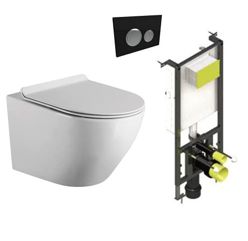 Pack Inodoro Suspendido + Cisterna Empotrada con Pulsador Negro | Inodoro con Fondo Reducido y Asiento Extrafino con Caida Amortiguada| (Pack WC Suspendido + Cisterna Empotrada + Pulsador Negro)