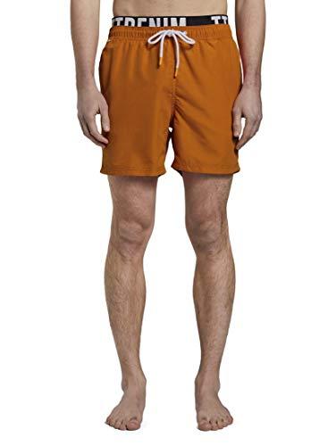 TOM TAILOR Denim Beachwear/Bademode Badeshorts mit elastischem Logo-Bund Perfect orange, M, 21202, 4556