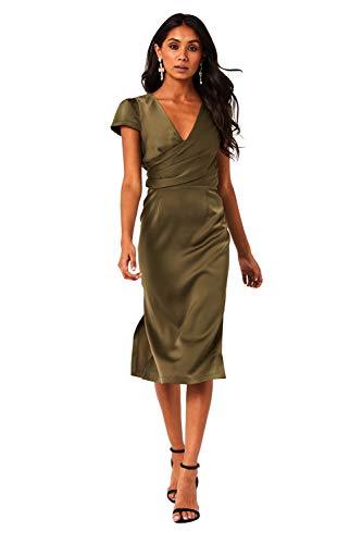 Paper Dolls Marra - Vestido de satén de satén con parte delantera y media de seda con detalle de lazo en la cintura. Mangas cortas, escote profundo y dobladillo lateral dividido, cierre de cremallera.