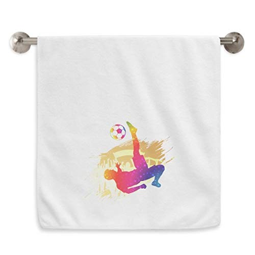 DIYthinker Angefeuert Football-Spieler Fahrrad Circlet Handtücher weichen Handtuch Waschlappen 13X29 Zoll-Tritt 13 x 29 Inch Weiß