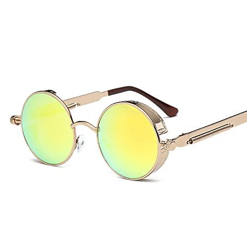 HZLGFX Gafas De Sol De Marco Redondo De Metal Steampunk Vintage, Gafas De Sol Retro Polarizadas para Hombres, Protección UV, Gafas De Estilo Gótico para Mujer,A9
