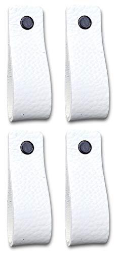 Ledergriffe Möbel   Weiß - 4 Stück   Ledergriff für Schränke, die Küche und Tür   Lieferung mit Schrauben in 3 Farben