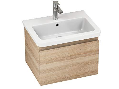 Aqua Bagno Badmöbel-Set Snow Waschtischunterschrank Hängend Keramik Holzoptik Eiche Softclose Gäste-WC | 60 cm